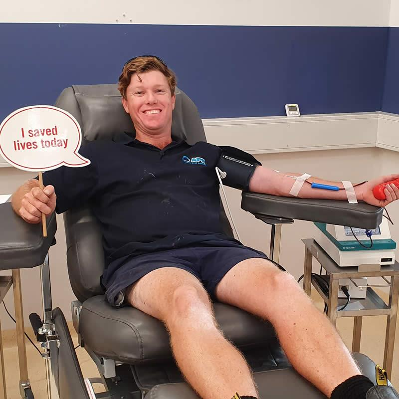 pool supply company giving blood