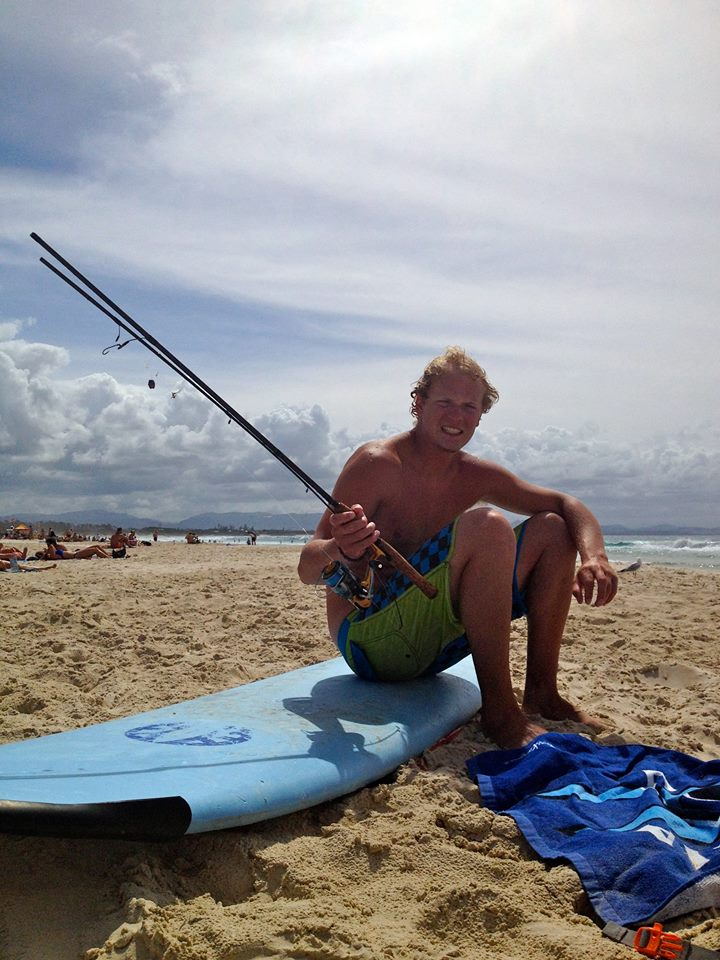 Found a washed up fishing pole mid-wave at Byron Bay's main beach