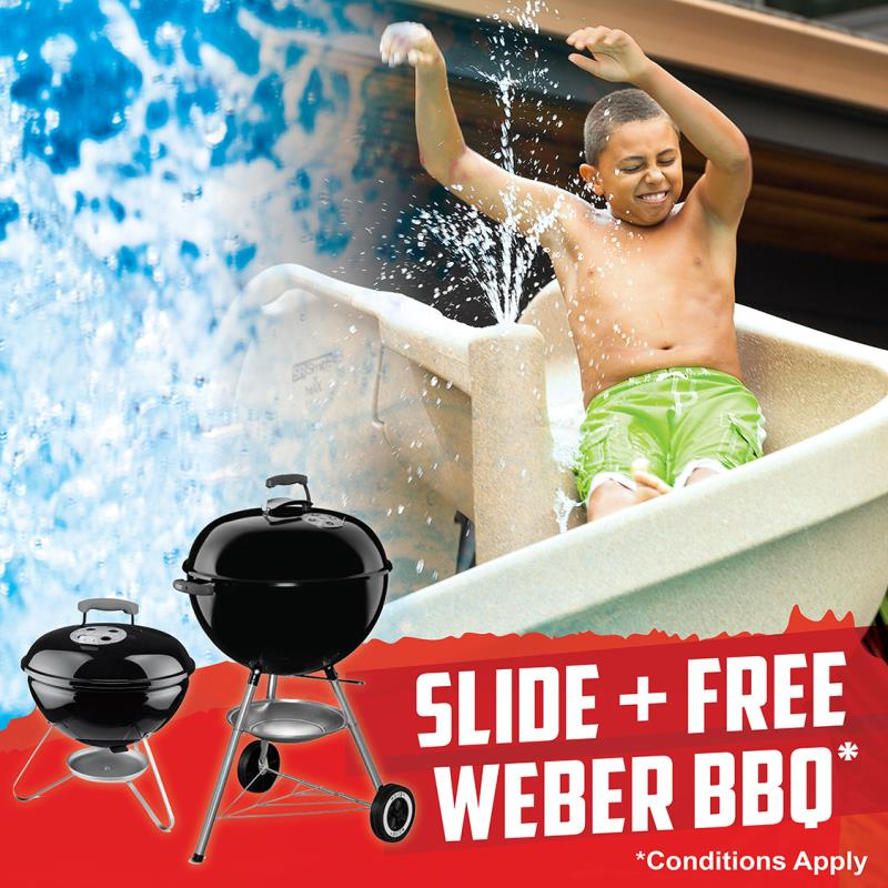 Pool slides Gold Coast with BBQ