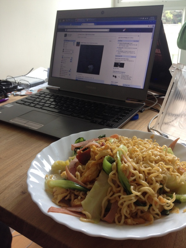 Breakfast noodles and work