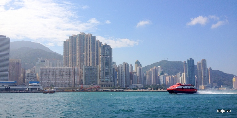 Hydrofoil ferry in front of Hong Kong