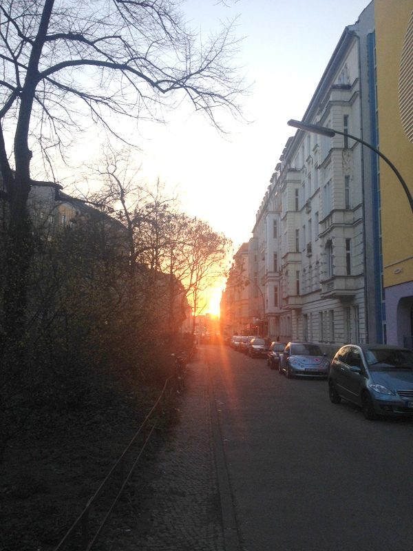 Sunset in trendy district