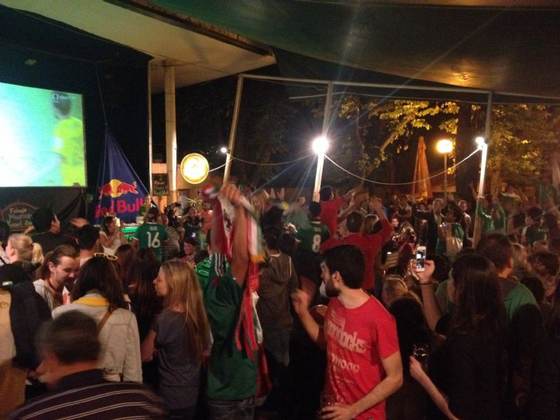 Mexico and Brazil fans getting crazy