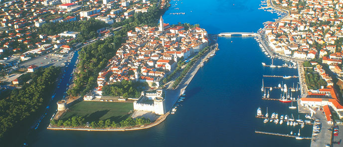 Trogir old town and marina right