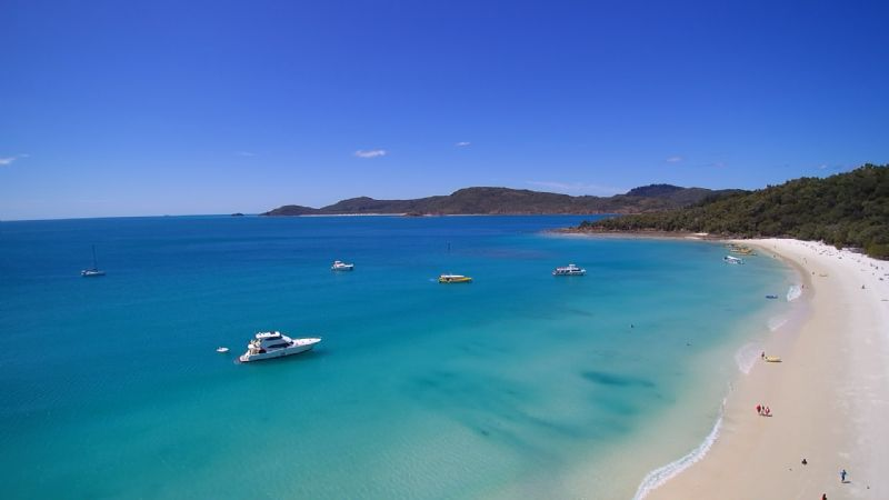 Whitehaven Beach from a drone